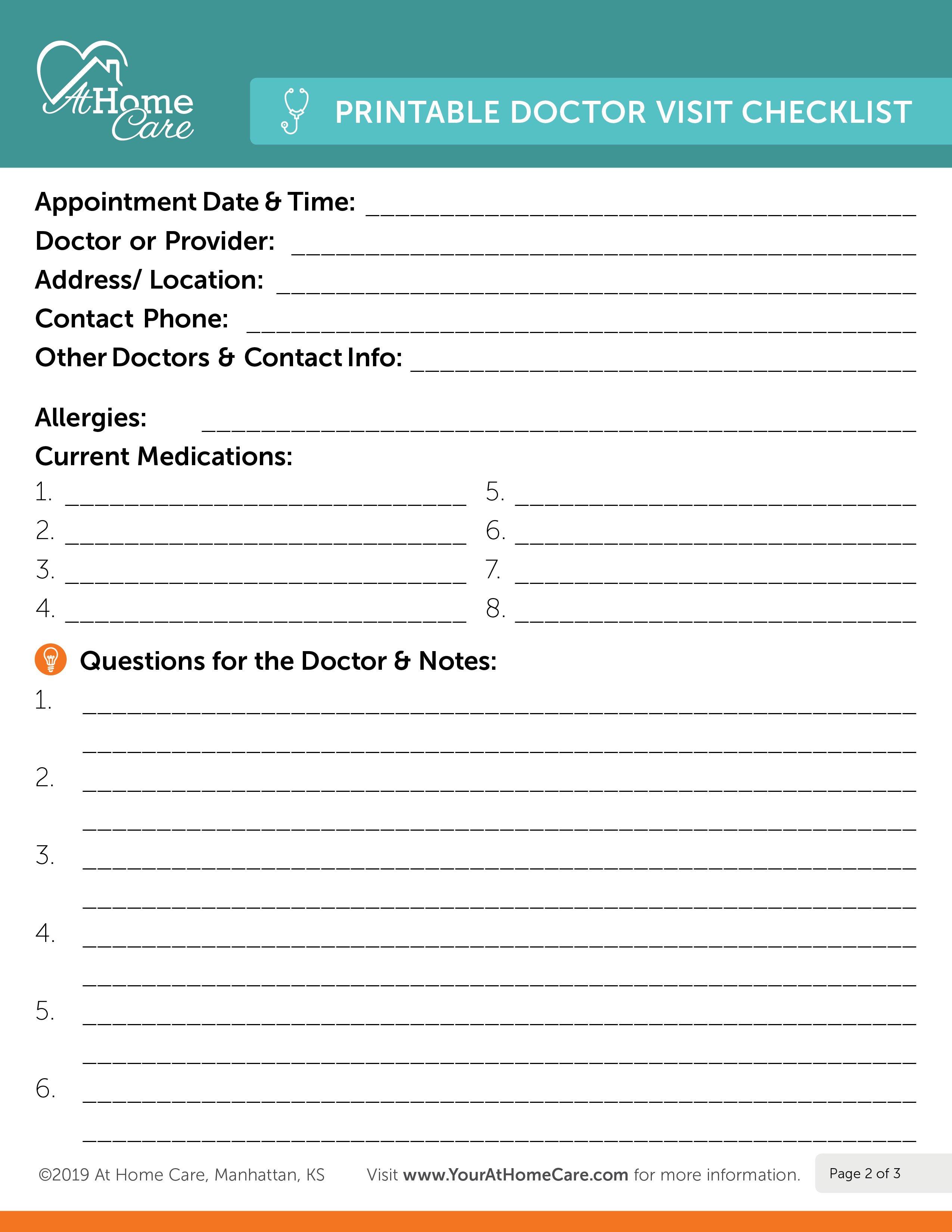 Doctor Visit Checklist 1